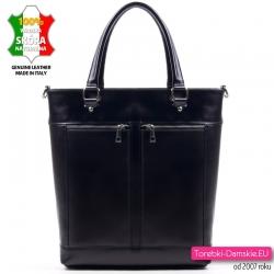 Czarna duża torba skórzana...
