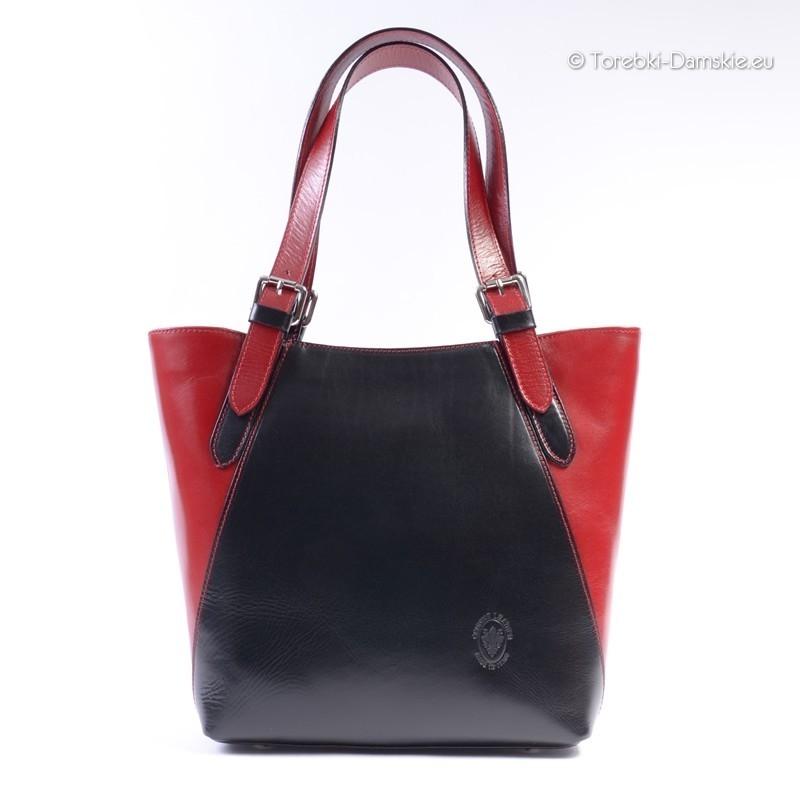 Czarno - czerwona duża torba skórzana