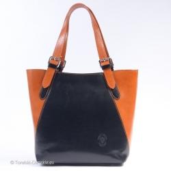 Czarno - jasnobrązowa torebka skórzana A4