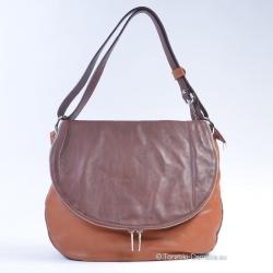 Skórzana torba z klapą w dwóch odcieniach koloru brązowego