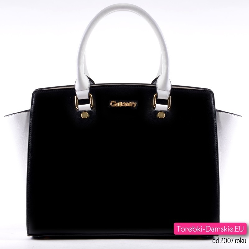 Czarno - biała dwukolorowa markowa torebka - kuferek