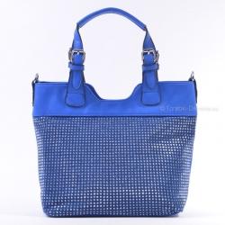 Niebieska szafirowa torebka z ćwiekami