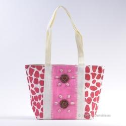 Biało - bordowo - różowa duża torba plażowa lub na zakupy