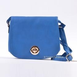 Niebieska torebka listonoszka z klapą, na długim pasku