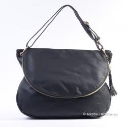 Czarna duża torba z klapą -...