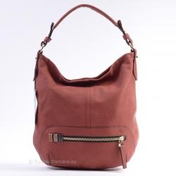 Czerwona torba - modny worek z zamkiem z przodu