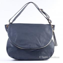 Granatowa torba z klapą średniej wielkości