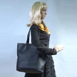 Czarna elegancka duża torba miejska