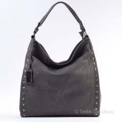 Szara prostokątna torba damska z ozdobnymi ćwiekami