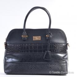 Czarna torebka - kuferek z imitacji wężowej skóry