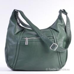 Duża torba w ładnym odcieniu zieleni na długim pasku