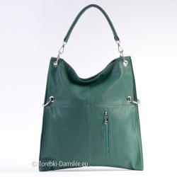 Kwadratowa duża torba w kolorze zielonym