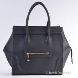 Duży czarny kwadratowy kuferek - pojemna i elegancka torba damska