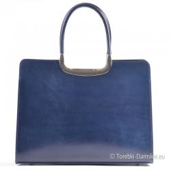 Granatowa skórzana włoska torba damska teczka z ozdobami