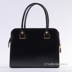 Czarna torebka - kuferek ze złotymi ozdobami