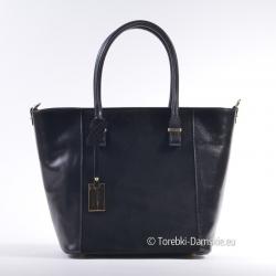 Czarna torba z dwóch rodzajów skóry naturalnej: gładkiej i nubuku