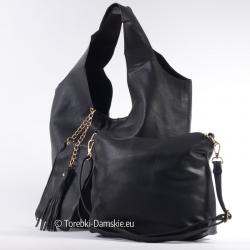 Zestaw: czarna duża torba, średnia listonoszka i saszetka