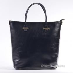 Czarna pojemna włoska torba ze skóry naturalnej
