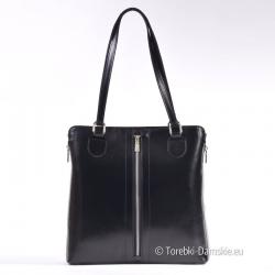 Czarna torebka z ozdobnymi zamkami błyskawicznymi z przodu i na bokach