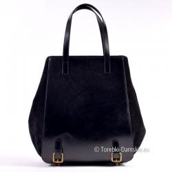 Czarna duża torba ze skóry gładkiej z przodu i nubuku na bokach