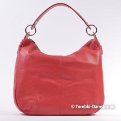 Duża torba damska ze skóry kolor czerwień koralowa