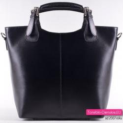 Skórzana, duża czarna włoska torebka - Zarka - Przesyłka za Darmo