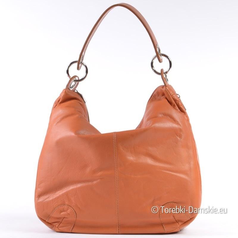 Jasnobrązowa torba z miękkiej skóry naturalnej