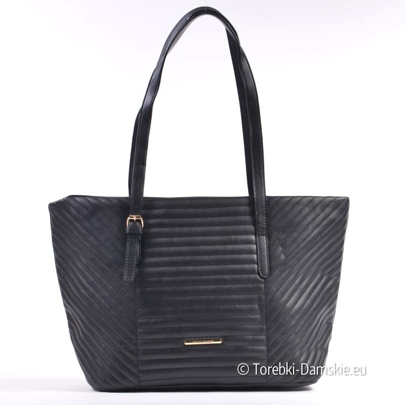 Duża czarna pikowana markowa torba David Jones