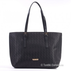 Czarna duża elegancka torba z tkaniny - David Jones