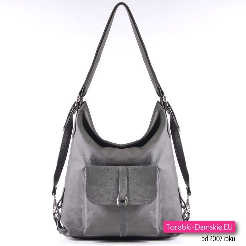 Skórzana szara torba 3 w 1: plecak, listonoszka, torba typu shopper w jednym