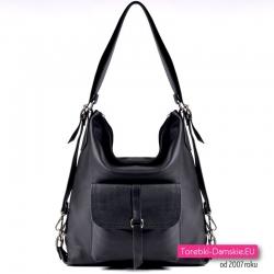 Czarna pojemna torba - worek skórzany z funkcją plecaka