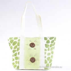 Lekka plażowa torba z kokardą - odcienie zieleni i jasnego beżu