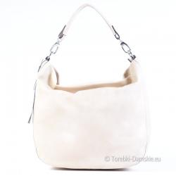 Pojemna torba - elegancki worek w kolorze kremowym - ecru