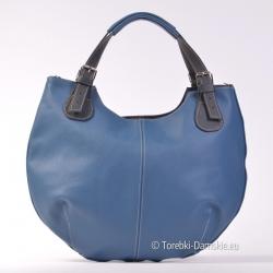Niebieska torba skórzana z...