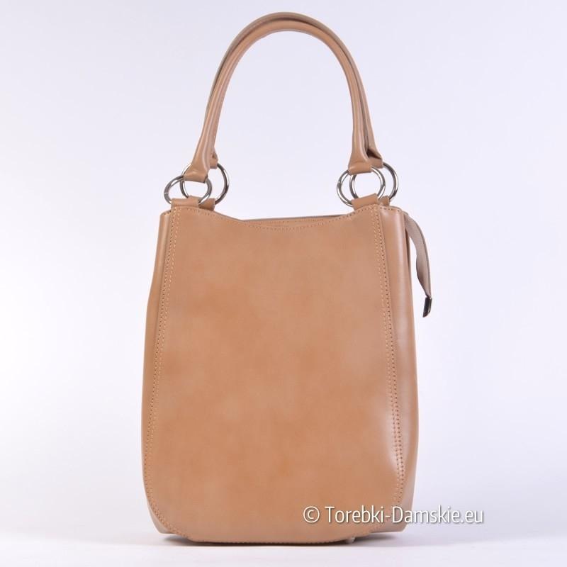 Beżowa torebka skórzana z możliwością modyfikacji kształtu