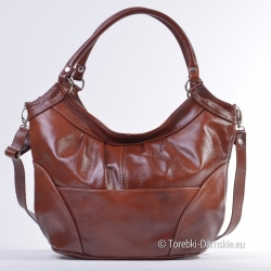 Brązowa torebka na ramię ze skóry naturalnej