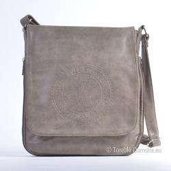 Prostokątna brązowa torebka na długim pasku - odcień Khaki