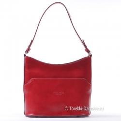 Czerwona torebka ze skóry licowej średniej wielkości