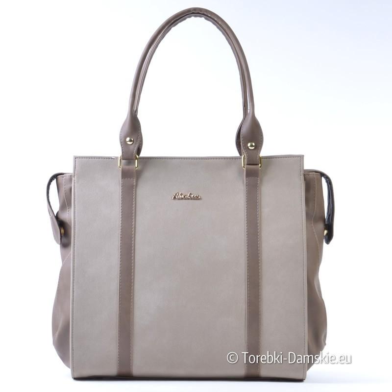Duża torba - elegancka teczka A4 - dwa odcienie beżu - LEKKA
