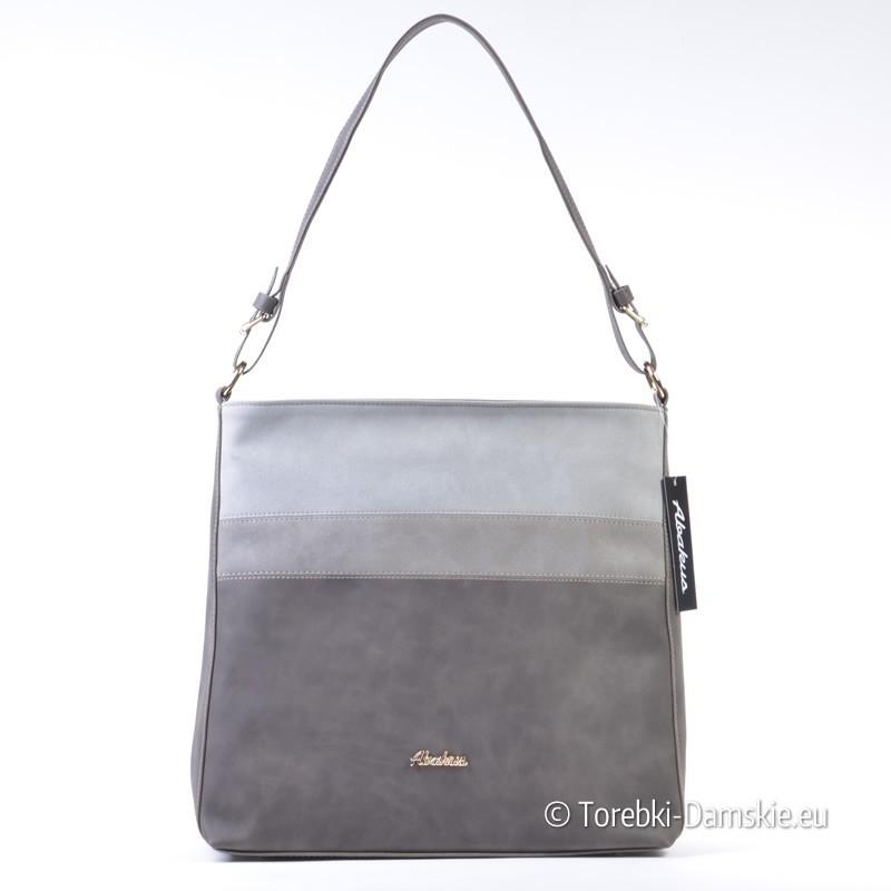 Prostokątna torebka na ramię w trzech odcieniach szarego