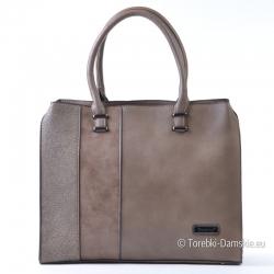 Prostokątna duża torba - kuferek A4 - odcienie koloru beżowego