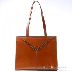 Włoska elegancka jasnobrązowa torba na ramię