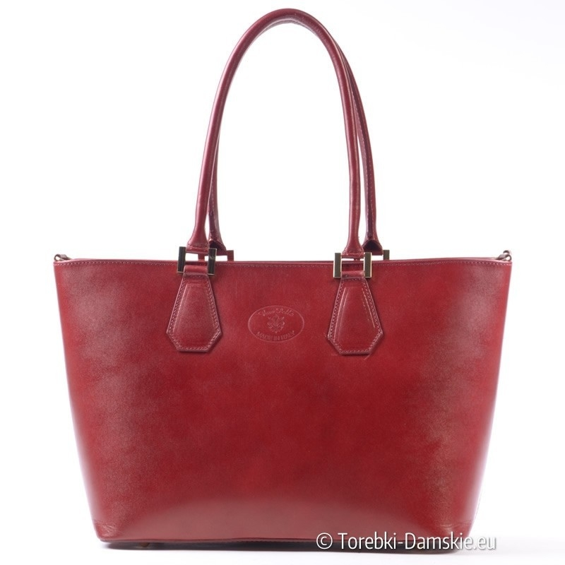 Duża torba damska - teczka z czerwonej skóry na ramię