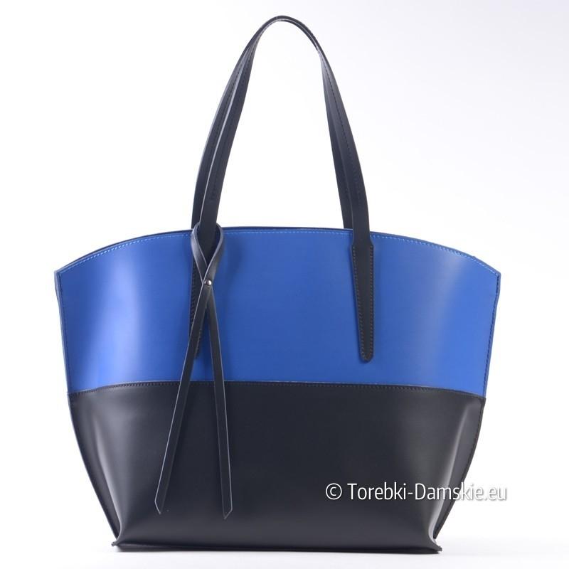 Stylowa torba dwukolorowa: czerń i błękit paryski