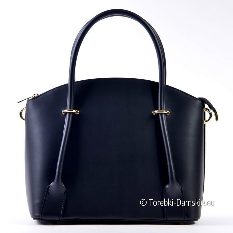 Stylowy kuferek w kolorze czarnym - torebka ze skóry