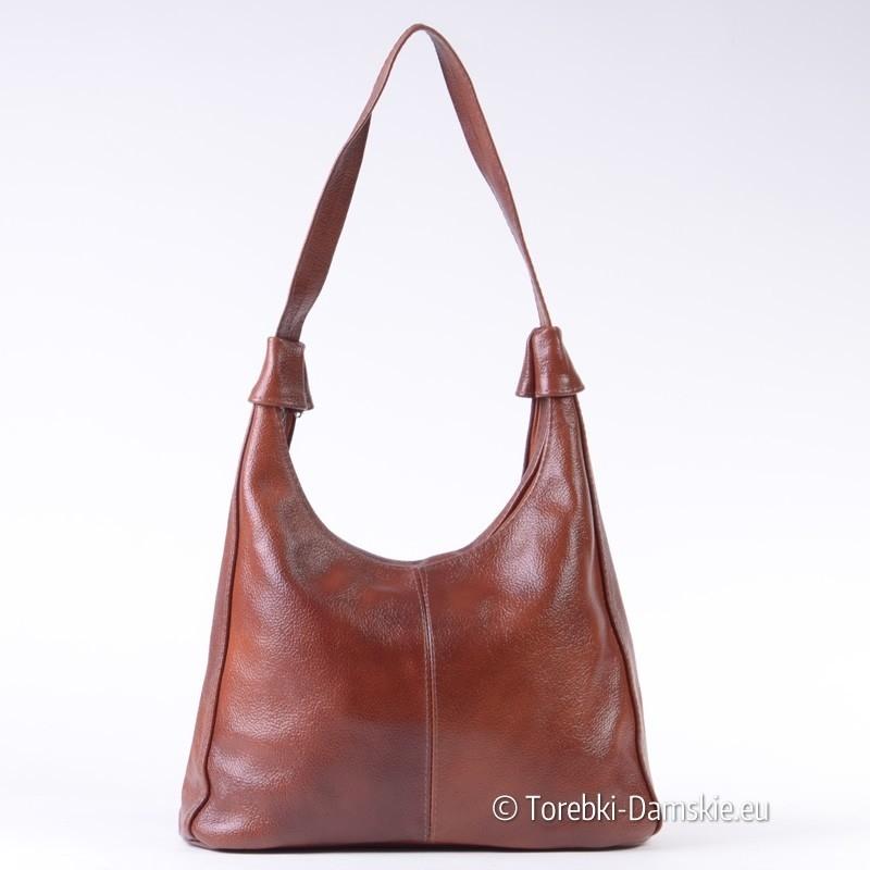 Klasyczna torebka damska na ramię z brązowej skóry naturalnej