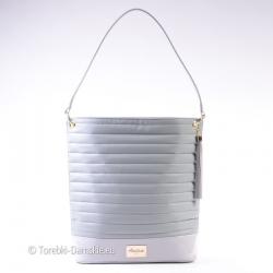 Duża szara torba - pikowana z elementami lakierowanymi