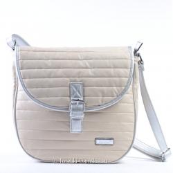 Beżowo - srebrna torebka pikowana z klapą
