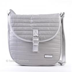 Szaro - srebrna pikowana torebka na długim pasku z klapą