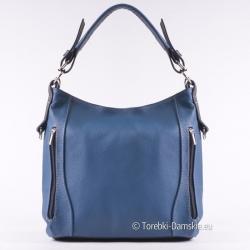 Niebieska torebka skórzana z czarnymi elementami, średnia wielkość